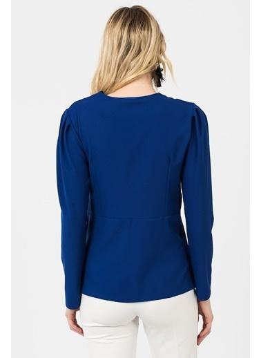 İroni Uzun Kollu Anvelop Bluz Saks